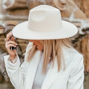 VICI Suede Flat Brim Hat - Off White SOLD OUT